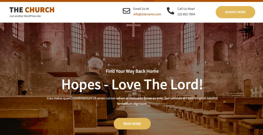 the church lite wordpress theme